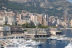 Monte-Carlo, marina, city, urban area, harbor. Monte-Carlo is marina, harbor and skyline. That marvel has city, water transportation and port and that beauty stock photography