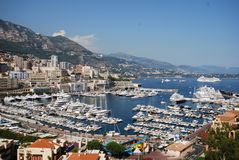 Monte-Carlo, Monte Carlo, marina, city, sea, sky. Monte-Carlo, Monte Carlo is marina, sky and port. That marvel has city, harbor and coast and that beauty royalty free stock image