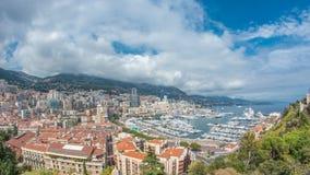Monte, Carlo miasta panoramy powietrzny timelapse - Widok luksusowi jachty i mieszkania w schronieniu Monaco, Cote d ` Azur zdjęcie wideo