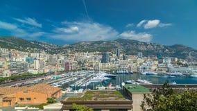 Monte, Carlo miasta panoramy timelapse powietrzny hyperlapse - Widok luksusowi jachty i mieszkania w schronieniu Monaco, Cote d zbiory
