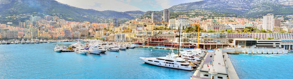 Monte Carlo Monaco. Panorama of Monte Carlo, Monaco, from the sea Royalty Free Stock Photo