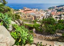 MONTE CARLO, MONACO - 10 AOÛT 2017 : Fragment d'un jardin des cactus et des succulents au Monaco Jardin Exotique de Monaco images stock