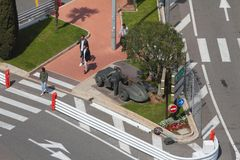 Monte Carlo, Monaco - Apr 19, 2019: Monument to racing driver at intersection of city streets stock photography