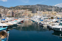 MONTE CARLO, MONACO - APRIL 19 ; An assortment of boats and yach Royalty Free Stock Images