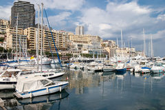 MONTE CARLO, MONACO - APRIL 19 : An assortment of boats and yach Royalty Free Stock Image