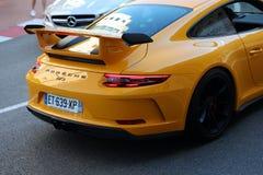 Luxury Yellow Porsche 911 GT3 Rear View. Monte-Carlo, Monaco - April 21, 2018: Luxury Yellow Porsche 911 GT3 Rear View In The Street Of Monaco On The French Stock Photo