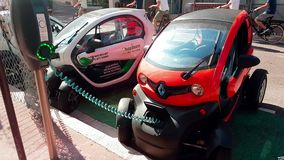 Renault Twizy Electric Car Charging On Street in Monaco