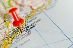 Monte Carlo, Monaco auf Karte Stockbilder