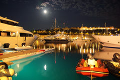 Monte Carlo Monaco bay. Moonlight night in Monte Carlo port stock photo