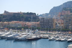 Monte-Carlo, Monaco Bay, sea, harbor, town, coast. Monte-Carlo and it`s Monaco Bay where you can see the harbor and parts of the town, the coast line and very Royalty Free Stock Photo