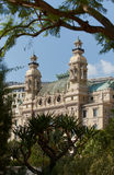 Monte-Carlo, Monaco, Casino Monte-Carlo, 25.09.2008. Exterior from the sea, from the port of Hercule, trees, palms, clear sky, facade casino Royal Royalty Free Stock Images