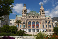 Monte-Carlo, Monaco, Casino Monte-Carlo, 25.09.2008. View Exterior from the sea, from the port of Hercules, facade, building, sunny day, summer Royalty Free Stock Image