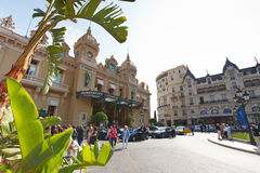 Monte-Carlo, Monaco, 25.09.2008: Casino Place. Casino Monte-Carlo, bottom view, many tourists, casino Royal, towers, entrance, casino place, palm trees,expensive Royalty Free Stock Images