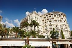 Monte-Carlo, Monaco, 25.09.2008: Hotel de Paris. Sunny day outdoor facade shops clear sky clouds landmarks cityscape palms view point Stock Image