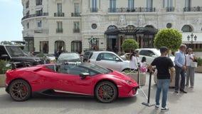 Red Lamborghini Huracan LP 640-4 Performante Side view. Monte-Carlo, Monaco - June 16, 2019: Luxury Red Lamborghini Huracan LP 640-4 Performante Side View Parked stock video
