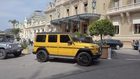 Mercedes Benz G 63 AMG Crazy Color Edition. Monte-Carlo, Monaco - June 16, 2019: Mercedes Benz G 63 AMG Crazy Color Edition SUV Parked In Front Of The Monte stock video