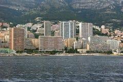Monte - carlo, Monaco, kustlinje Arkivfoto