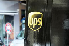 UPS Delivery Service Logo On Black Truck royalty free stock photography