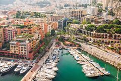 Monte Carlo Monaco High density. Panoramic view. Boats, yachts and luxury. Few steps from Prince`s Palace of Monaco Royalty Free Stock Photo