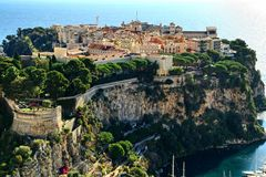 Monte Carlo, Monaco, rocheux, le palais des princeÂ, principauté, Images stock