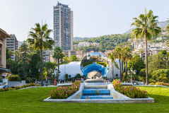 Monte Carlo, Monaco with Sky Mirror sculpture Royalty Free Stock Images