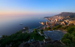 Monte Carlo, Monaco at sunrise. Aerial view of Monte Carlo, Monaco at sunrise Stock Photography