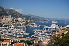 Monte-Carlo, Monte Carlo, marina, harbor, sky, sea. Monte-Carlo, Monte Carlo is marina, sea and water. That marvel has harbor, city and town and that beauty stock image