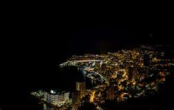 Monte, Carlo na widoku Monaco przy nocą na Cote d ` Azur -, Francja zdjęcia royalty free