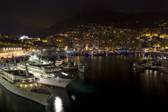 Monte Carlo at night. A overview of the bay of monte carlo Stock Photo