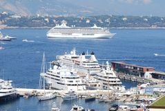 Monte-Carlo, passenger ship, marina, cruise ship, ship. Monte-Carlo is passenger ship, ship and watercraft. That marvel has marina, water transportation and royalty free stock photo