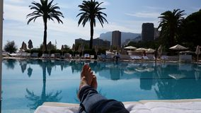 Monte carlo. By the pool in monte carlo Royalty Free Stock Photos