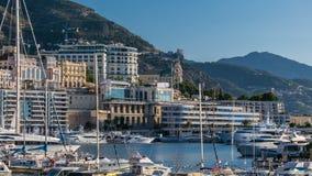 Monte, Carlo portu Hercule panoramy timelapse - Widok luksusowi jachty i kasyno Monaco, Cote d ` Azur zbiory