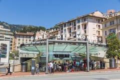 Monte Carlo Railway Station (Gare DE Monaco), Monaco royalty-vrije stock afbeelding