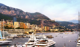 Monte Carlo`s busy harbour during the yacht show Royalty Free Stock Images