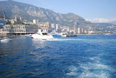Monte-Carlo, sea, water transportation, waterway, passenger ship. Monte-Carlo is sea, passenger ship and water. That marvel has water transportation, sky and royalty free stock photos