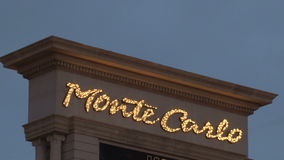 Monte Carlo sign Las Vegas at night stock video footage