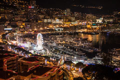 Monte Carlo skyline at night, French Riviera Stock Photography