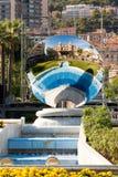 Monte Carlo. Spiegel und Brunnen Stockfotografie