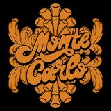Monte Carlo. Vector hand drawn lettering with frame. Creative realistic tattoo artwork. Template for card, poster, banner, print for t-shirt, pin, badge, patch stock illustration