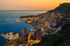 Monte Carlo in View of Monaco at night on the Cote d'Azur Royalty Free Stock Photo