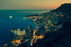 Monte Carlo in View of Monaco at night on the Cote d'Azur Stock Image