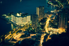 Monte Carlo in View of Monaco at night on the Cote d'Azur Royalty Free Stock Images