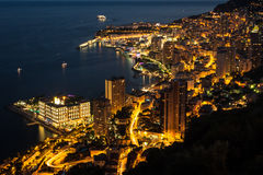 Monte Carlo in View of Monaco at night on the Cote d'Azur Royalty Free Stock Photography