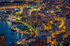 Monte Carlo in View of Monaco at night on the Cote d'Azur Royalty Free Stock Image