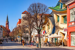 Monte Cassino street. People on Monte Cassino street with many shops, clubs, galleries, on April 15, 2016 in Sopot, Poland Stock Photo