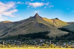 Monte Cavendish en el día claro del cielo, Christchurch, Nueva Zelanda Imagen de archivo libre de regalías