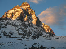 Monte Cervino. Golded by the setting sun Royalty Free Stock Photo