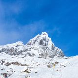 Monte Cervino Matterhorn w Grudniu, Breuil-Cervinia, Valle d zdjęcie royalty free