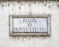 Monte Citorio plaque Stock Photo