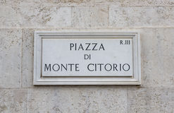Monte Citorio road sign, Rome. Photo taken in Rome, Italy royalty free stock image